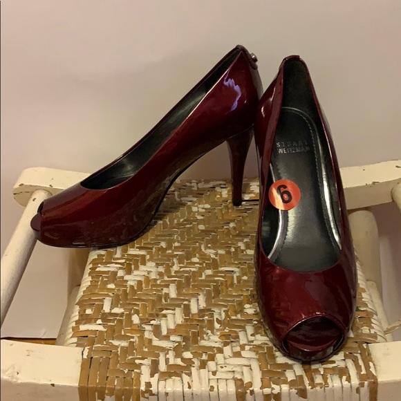 Stuart Weitzman Shoes - Stuart Weitzman Oxblood Peep Toe Heels Sz 6